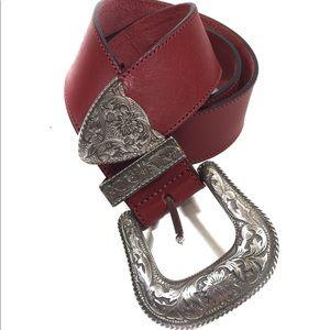 Vintage Red Leather Western Belt